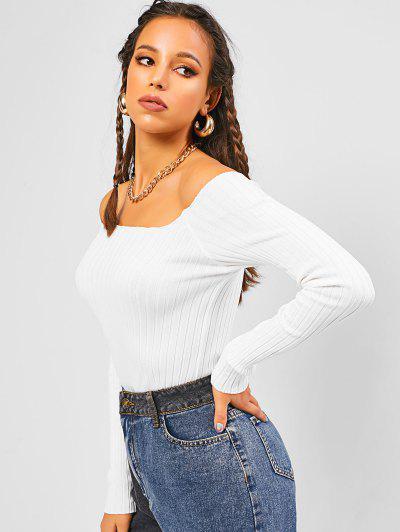 Ribbed Plain Basic Knitwear - White