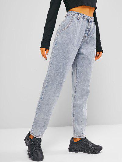 Zipper Fly Pocket Mom Jeans - Light Blue L