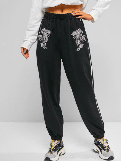ZAFUL Tiger Embroidered Oriental Contrast Tape Side Pants - Black L