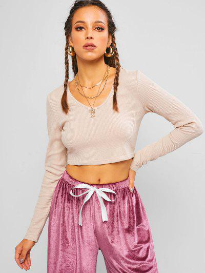 ZAFUL Knitted Hooded Cropped T Shirt - Pink L