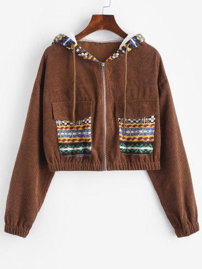 ZAFUL Ethnic Print Corduroy Mixed Media Pocket Jacket - Coffee M