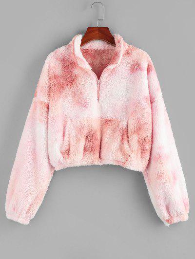 ZAFUL Tie Dye Half Zipper Fluffy Cropped Sweatshirt - Light Pink M