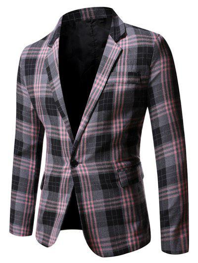 Single Button Plaid Pattern Blazer - Gray M