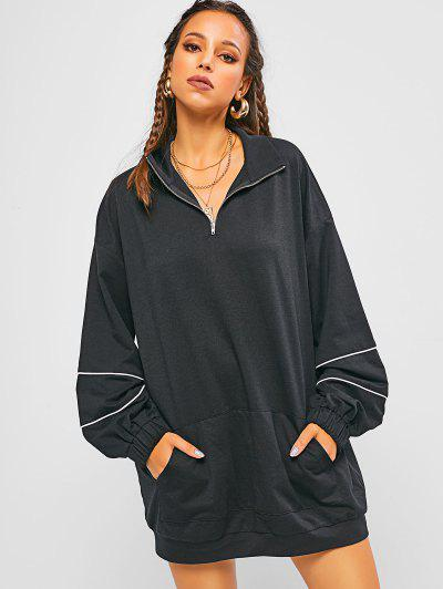 Oversized Half Zipper Lantern Sleeve Sweatshirt Dress - Black M