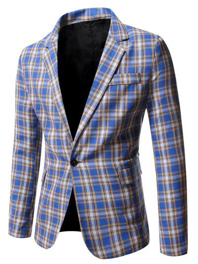 Plaid Side Slit Single Button Blazer - Cornflower Blue Xl