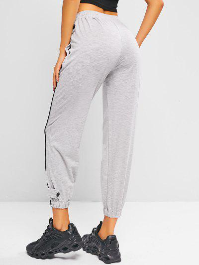 High Waisted Buttoned Tab Jogger Sweatpants - Light Gray L