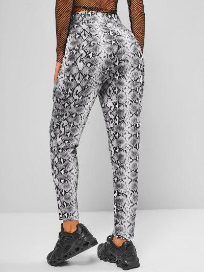 High Waisted Snake Print Tapered Pants - Black M
