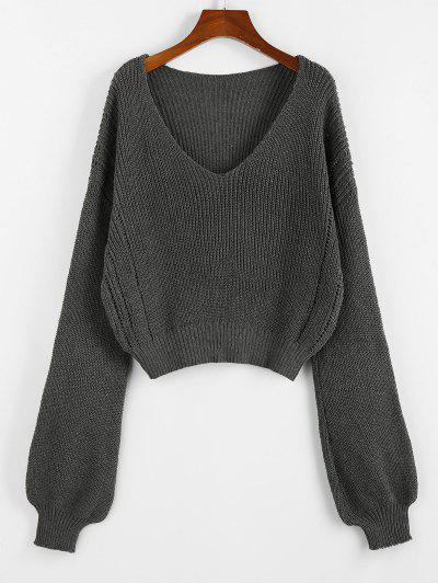 ZAFUL Plunge Drop Shoulder Lantern Sleeve Sweater - Smokey Gray S