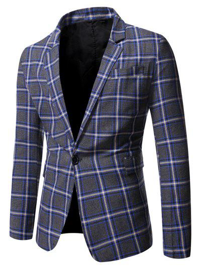 Single Button Slit Plaid Blazer - Blueberry Blue S
