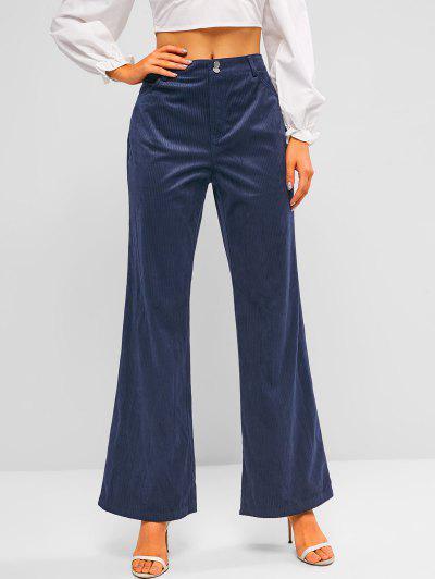 ZAFUL High Rise Corduroy Bell Bottom Pants - Deep Blue S