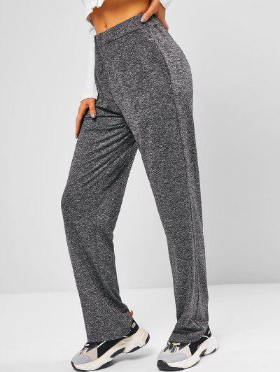Heather Pocket Wide Leg Pants - Gray M