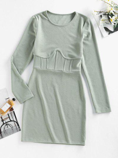 ZAFUL Long Sleeve Seam Detail Sheath Mini Dress - Light Green L