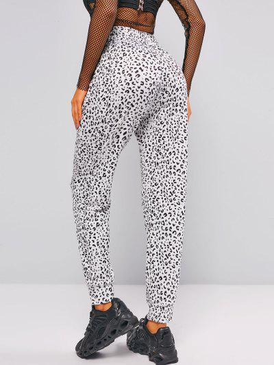 Drawstring Leopard Jogger Sweatpants - White L