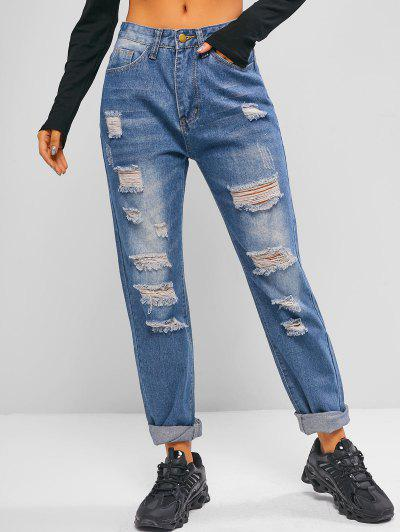 High Waisted Distressed Tapered Jeans - Deep Sky Blue L