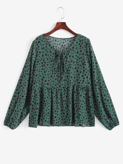 Tie Collar Spotted Print Blouse - Deep Green M