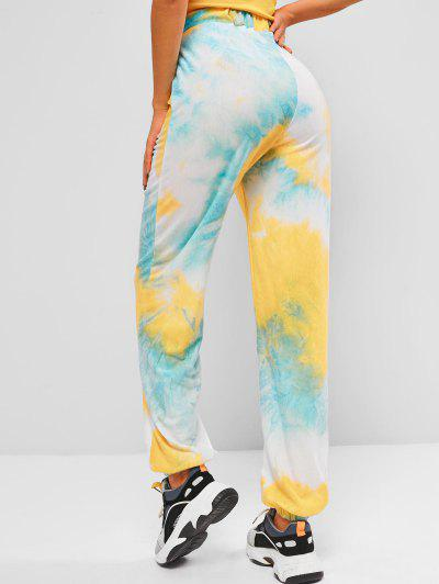 High Waisted Jogger Tie Dye Sweatpants - Multi L