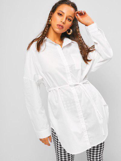 ZAFUL Button Up Belted Long Shirt - White Xl