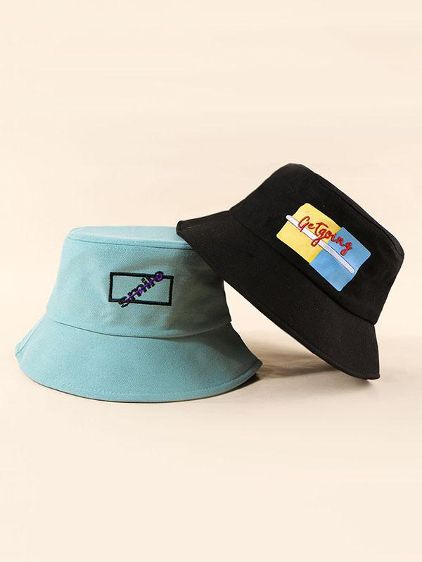 2Pcs Embroidery Letters Bucket Hat Set