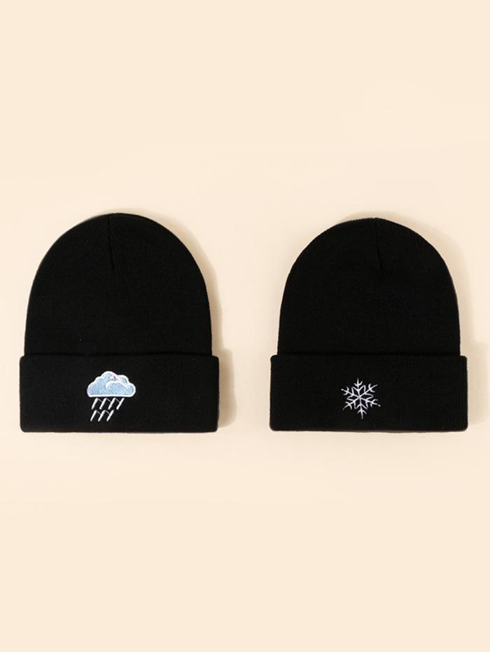 2Pcs Embroidery Weather Knitted Hat Set