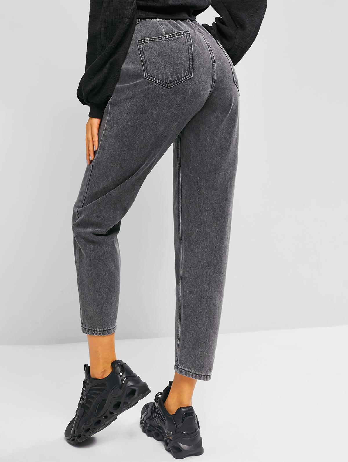 High Rise Pocket Zip Fly Mom Jeans
