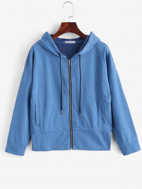 online ZAFUL Drop Shoulder Zipper Slit Hoodie - OCEAN BLUE M