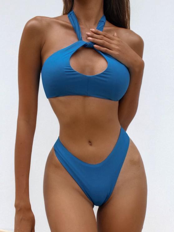 ZAFUL Halfter Schlüsselloch Bikini Badebekleidung mit Hohem Bein - Blau S