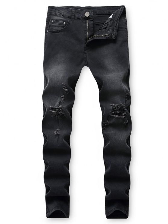 chic Destroy Wash Ripped Back Pocket Long Jeans - BLACK 36
