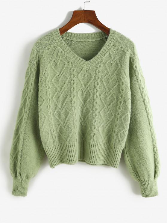 shops Mixed Knit Raglan Sleeve V Neck Jumper Sweater - DEEP GREEN ONE SIZE