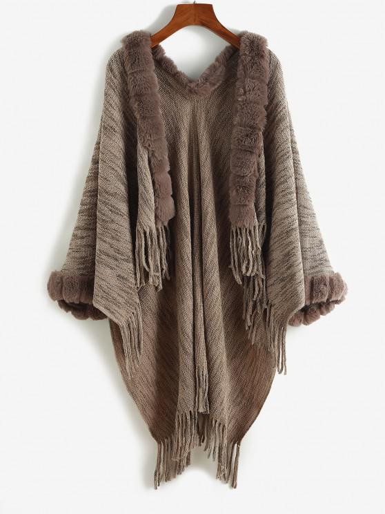 Faux Fur Insert Open Front Fringed Poncho Cardigan - القهوة العميقة حجم واحد