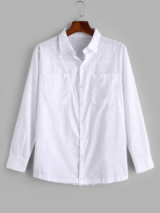 trendy Double Pockets Button Up Shirt - WHITE M