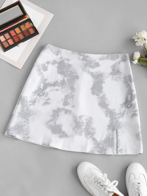 sale Tie Dye Print Slit Front Skirt - MILK WHITE L