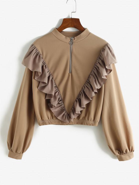 Ruffle Quarter Zip Pullover Sweatshirt - القهوة العميقة S