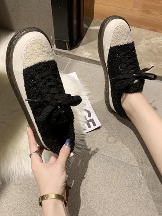 fashion Colorblock Teddy Faux Fur Lace Up Shoes - BLACK EU 39