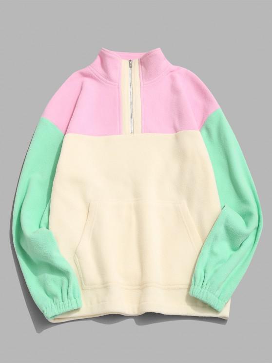 Colorblock Quarter Zip Kangaroo Pocket Fluffy Sweatshirt - متعدد M