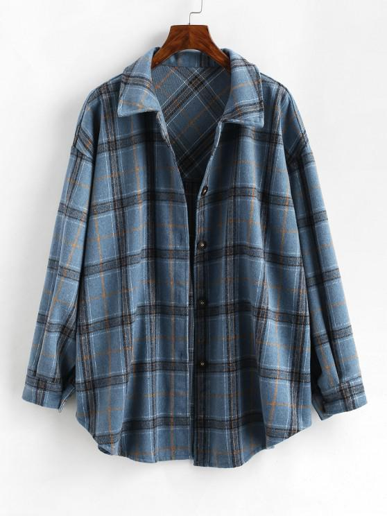 fancy Boyish Checked Wool Blend Coat - BLUE S
