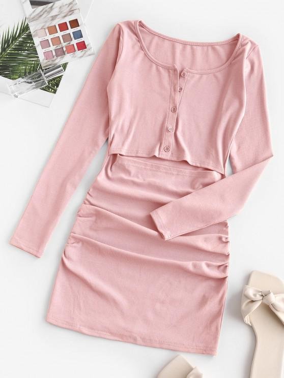 shops Half Buttoned Cut Out Draped Mini Dress - LIGHT PINK L