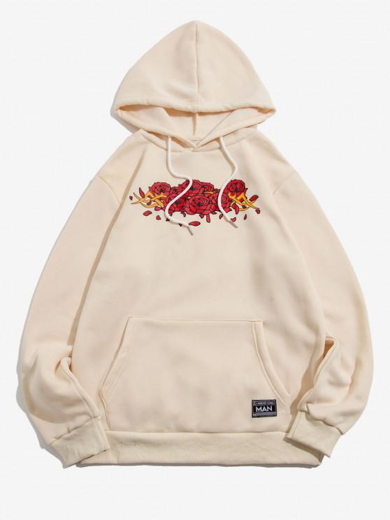 Letter Applique Rose Flowers Print Fleece Hoodie - اللون البيج M