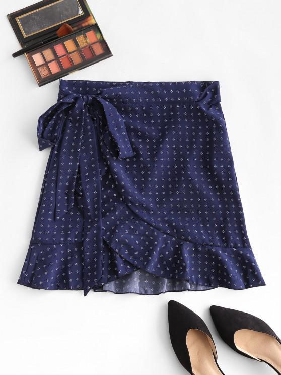 latest Ditsy Floral Flounce Wrap Skirt - DEEP BLUE L