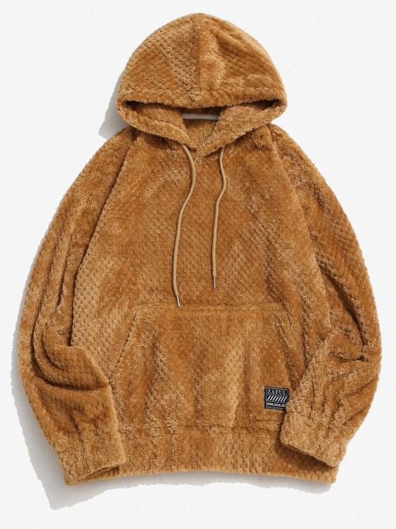 Zaful Label Kangaroo Pocket Fluffy Hoodie - قهوة XL