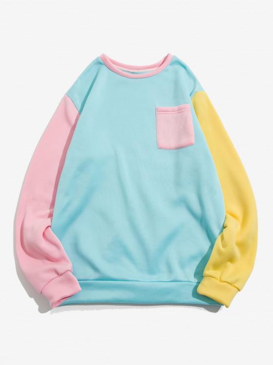 womens The Statue Of Liberty Graphic Print Contrast Pocket Fleece Sweatshirt - LIGHT BLUE XL
