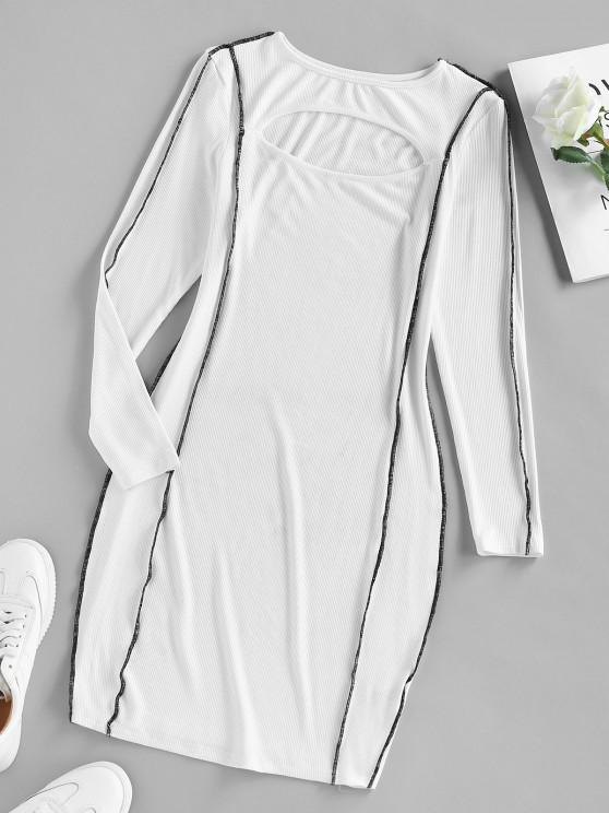 outfit ZAFUL Ribbed Topstitching Cutout Bodycon Dress - WHITE S
