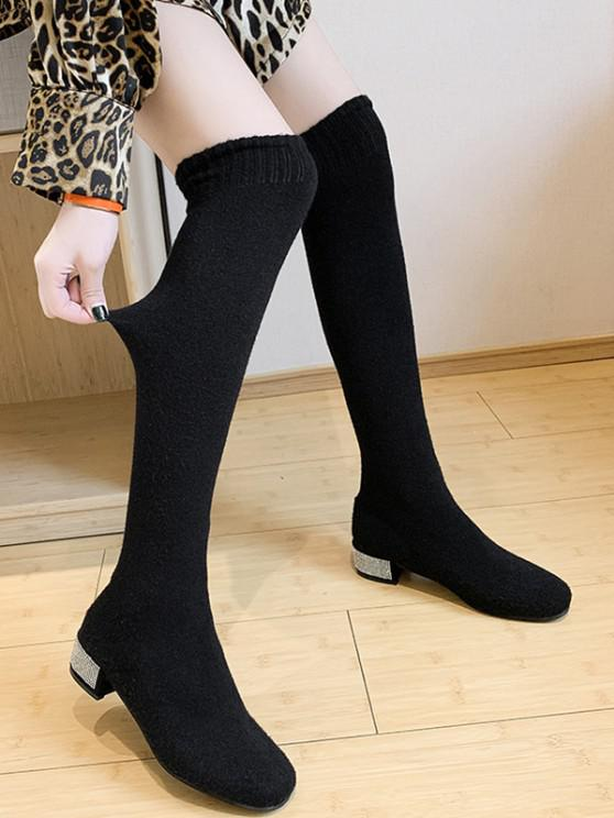 trendy Over The Knee Stretch Rhinestone Boots - BLACK EU 40