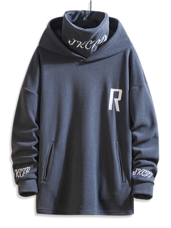 Turtleneck Fleece Letter Embroidered Hoodie - اللون الرمادي 2XL