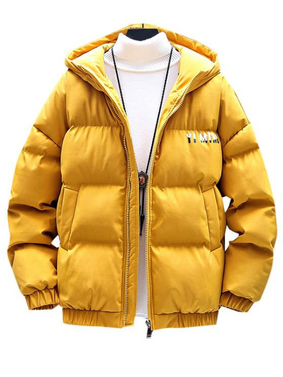 online Zip Up Letter Graphic Pockets Padded Coat - YELLOW M