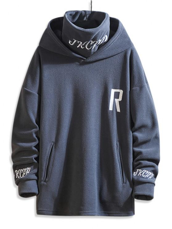 latest Turtleneck Fleece Letter Embroidered Hoodie - GRAY 3XL