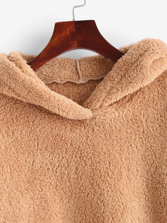 Faux Fur Drop Shoulder Plush Tunic Hoodie - Coffee M   ZAFUL