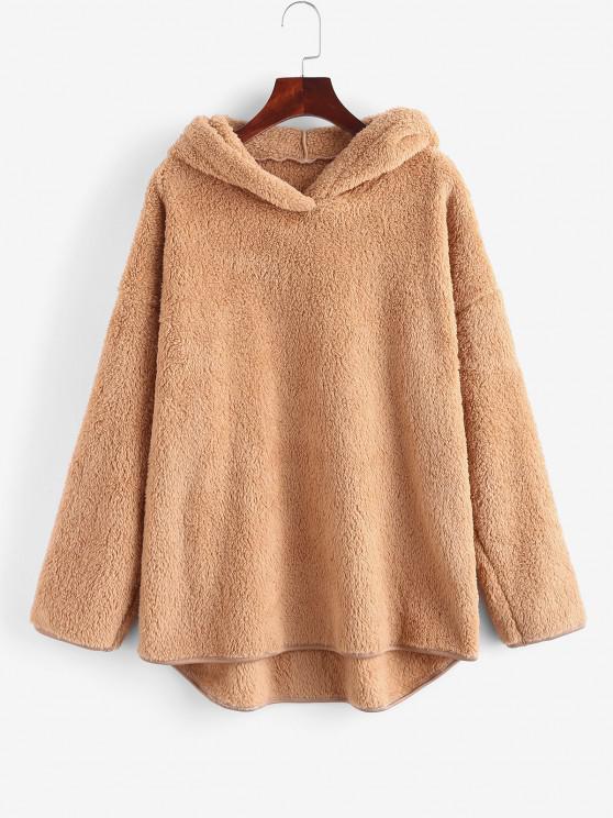 women's Faux Fur Drop Shoulder Plush Tunic Hoodie - COFFEE S
