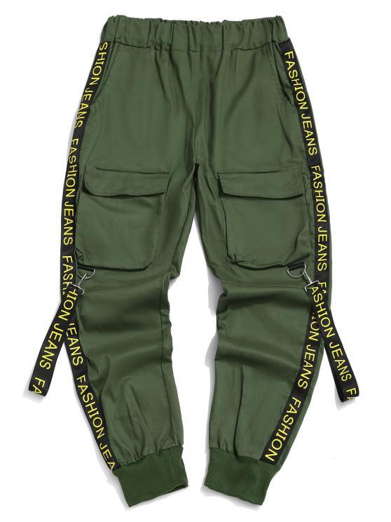 Pantalon Cargo Lettre Imprimée avec Sangle - Vert Mer Moyen XS