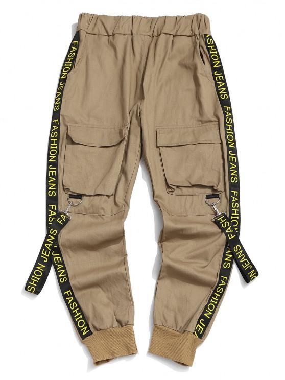 Letter Print Strap Streetwear Cargo Pants - القهوة الخفيفة L