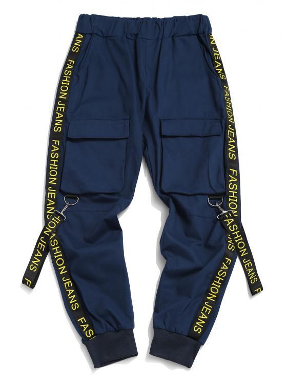 Letter Print Strap Streetwear Cargo Pants - الدينيم الأزرق الداكن S